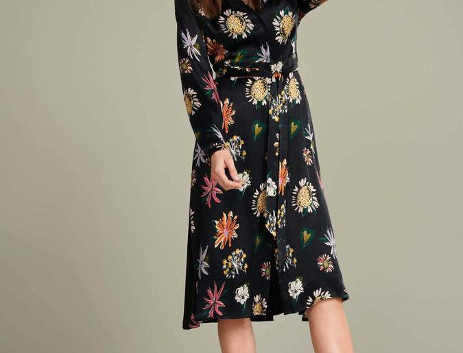 Robe FLOWER LOVE BLACK SATIN