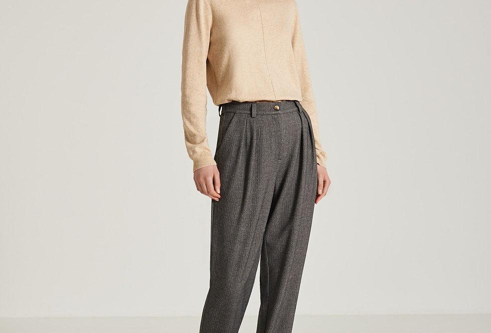 Pantalon Pinces Gris