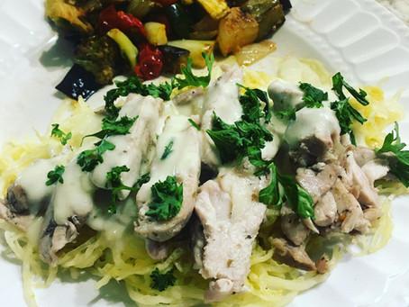 Spaghetti Squash w/Chicken Alfredo