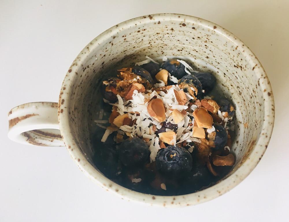 Blueberry Crunch in a mug