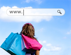 Girl holding shopping bags with address