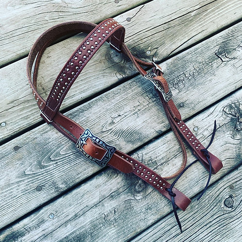 Browband Headstall w/ Double Spots and Fancy Buckles