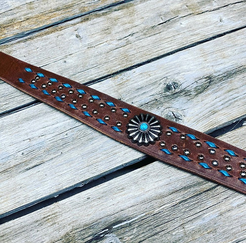 Turquoise Buckstitch & Bling Whither Strap