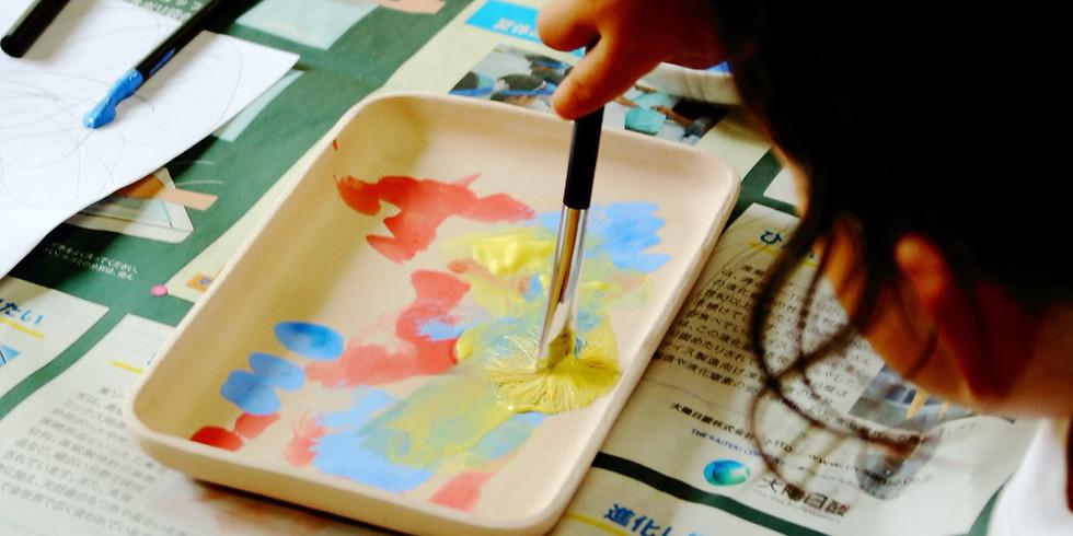 色を使って陶芸のお皿に自由な絵を描こう!