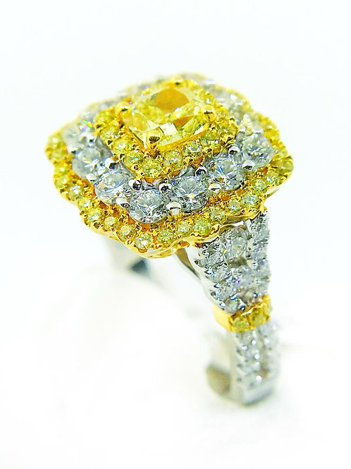 Fancy Yellow Triple Halo Diamond Ring
