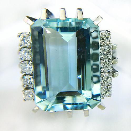 27 Carat Vintage Aquamarine Ring
