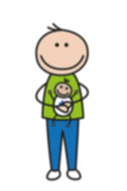 A cartoon image of Ed Byrnes holding baby Ash