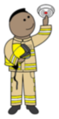 A cartoon image of Abz the firefighter