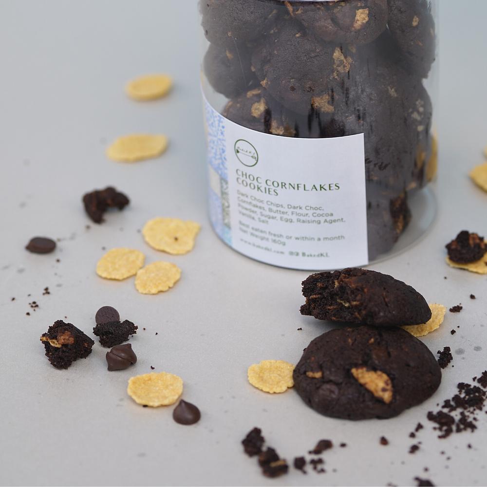 raya dark chocolate chip cookies with cornflakes