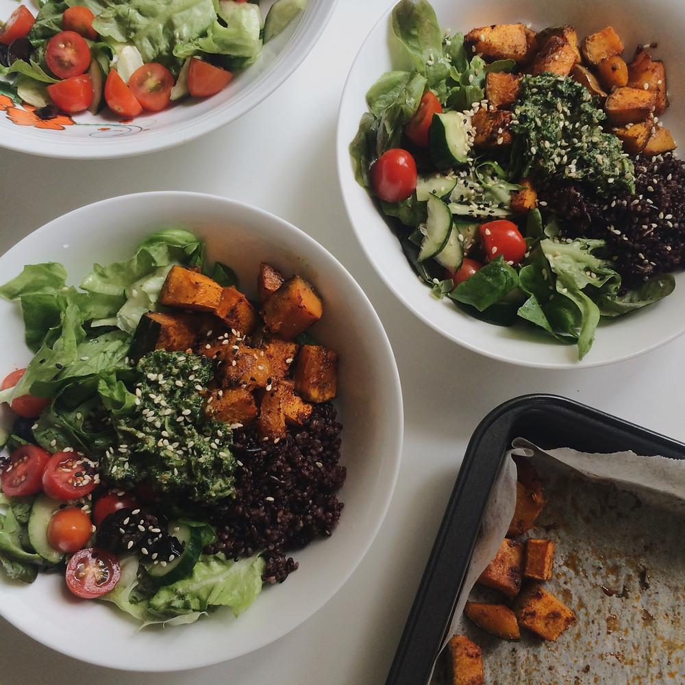 black rice and quinoa bowl