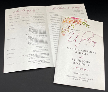 Floral Folded Wedding Program