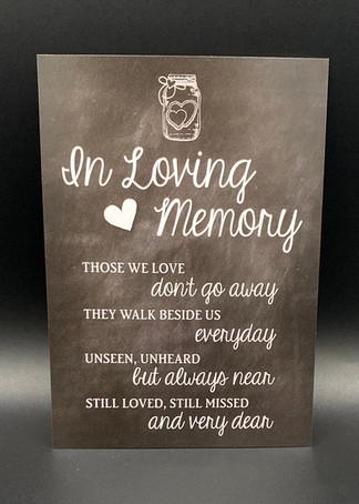 In Loving Memory Poem Sign