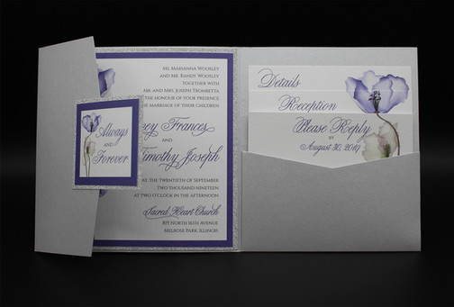 Square Silver Purple Pocket Invitation