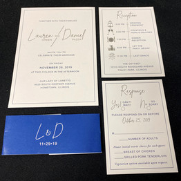 Blue & Gray Simple Belly Band Invitation