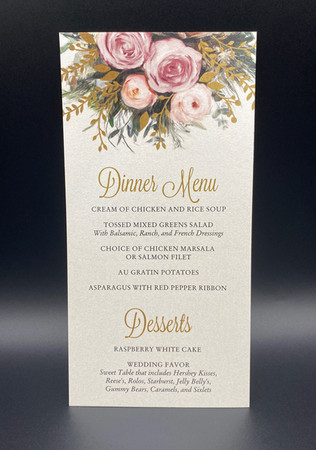 Floral Wedding Dinner Menu