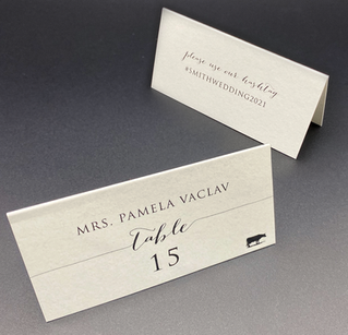 Simple Place Card with Hashtag and Meal Choice