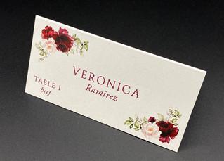 Burgundy Floral Place Card