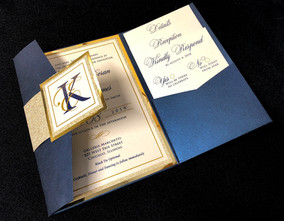 Blue & Gold Glitter Mirror Pocket Invitation