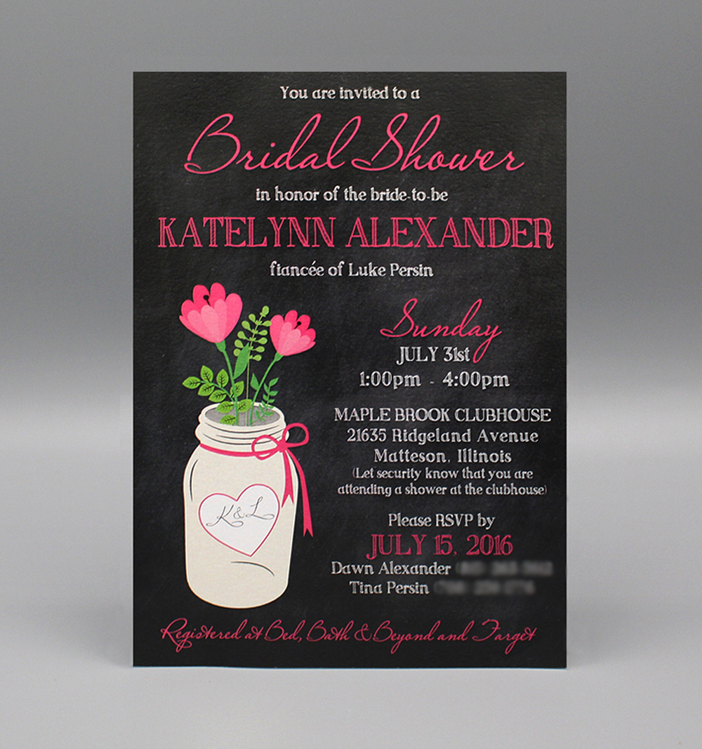 Chalkboard & Pink Flower Mason Jar Bridal Shower
