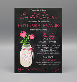 Chalkboard & Pink Flower Mason Jar Bridal Shower