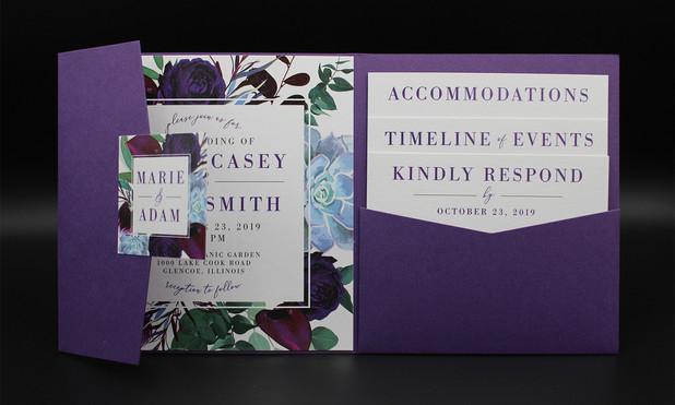Square Purple Floral Pocket Invitation