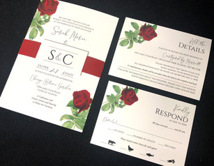 Red Rose Belly Band Invitation