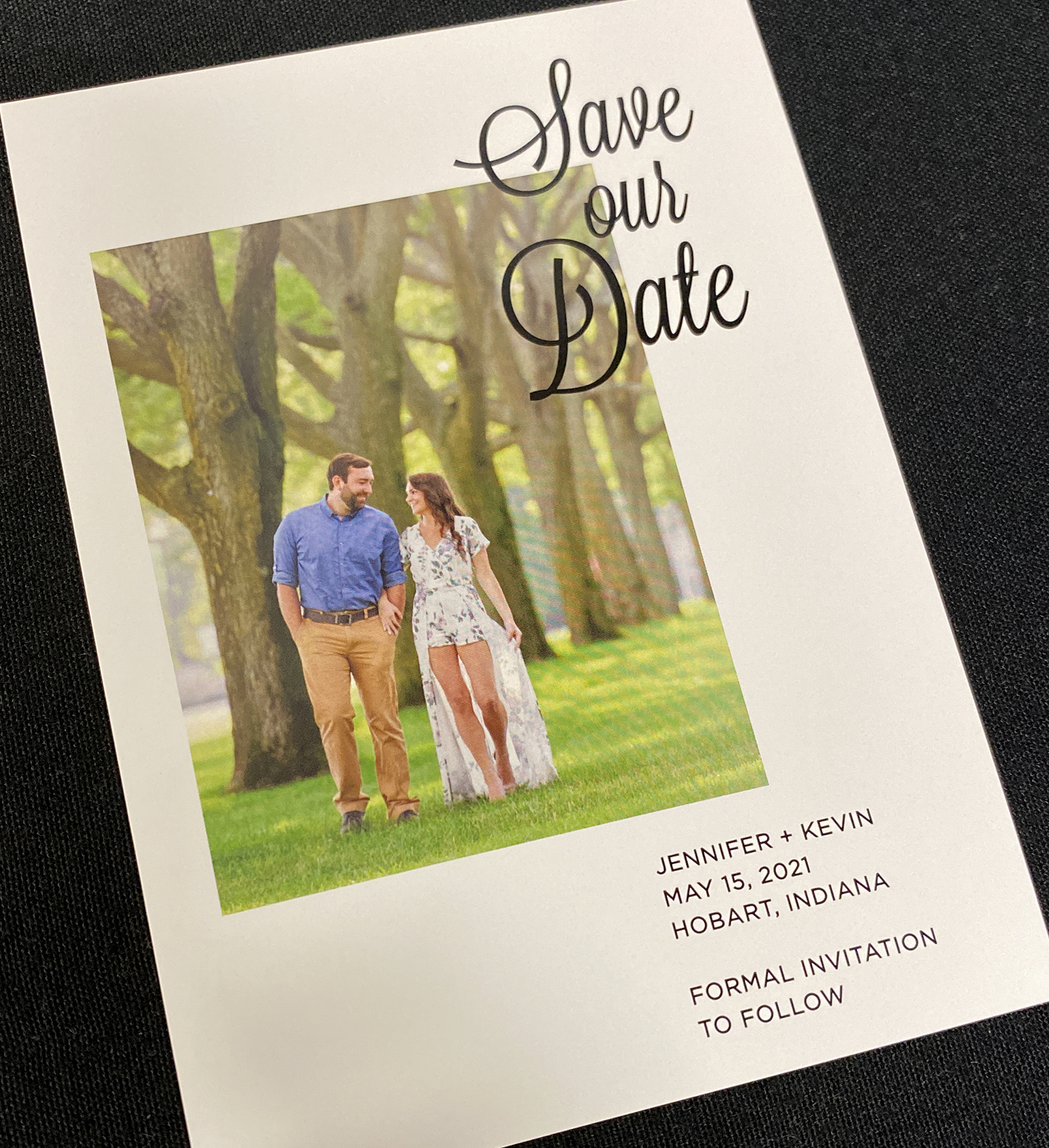 Single Photo White Frame Save the Date