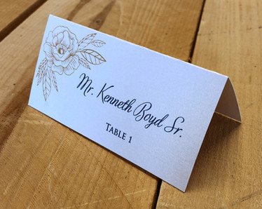 Gold Floral Place Card