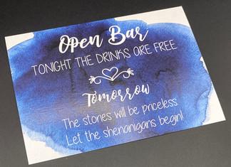 Blue Open Bar Sign