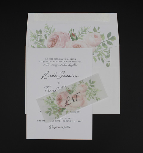 Floral Vellum Belly Band Invitation