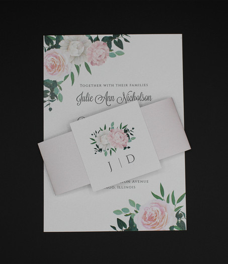 Pink & White Rose Belly Band Invitation