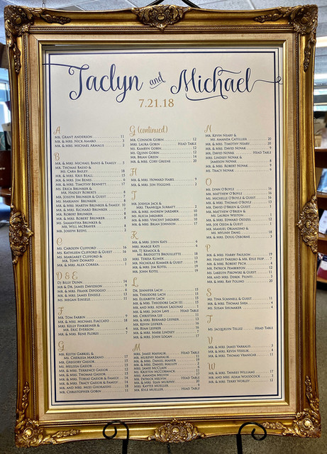 Seating Chart in Frame