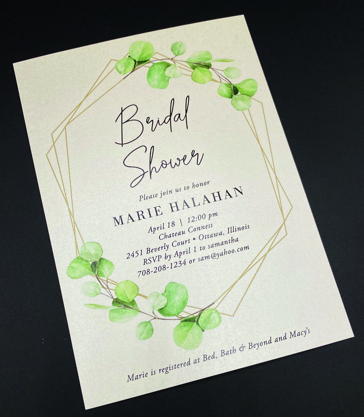 Gold Frame Botanical Bridal Shower