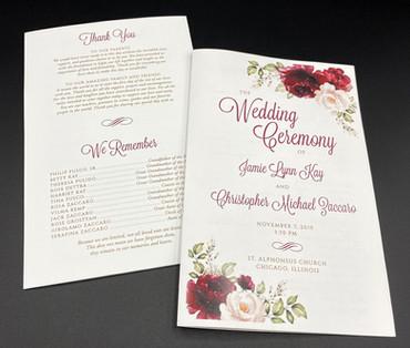 Burgundy Floral Wedding Program