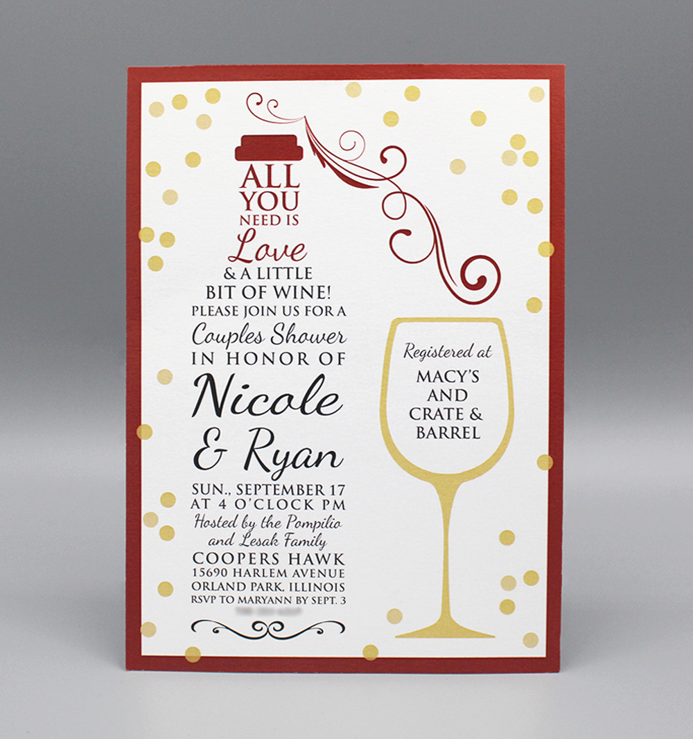 Typographic Wine Bridal Shower