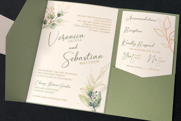 Green & Gold Botanical Pocket Invitation