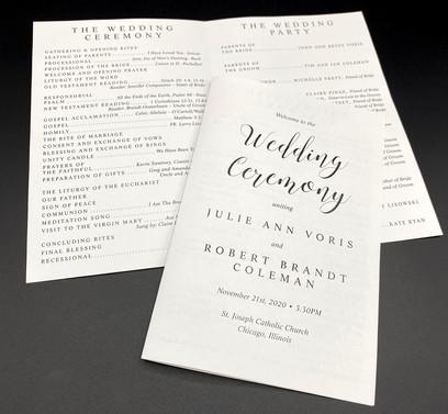 Basic Black & White Wedding Program
