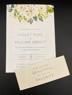 White Floral Bouquet Belly Band Invitation