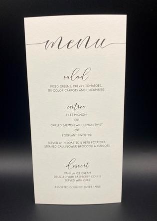 Simple Wedding Reception Menu