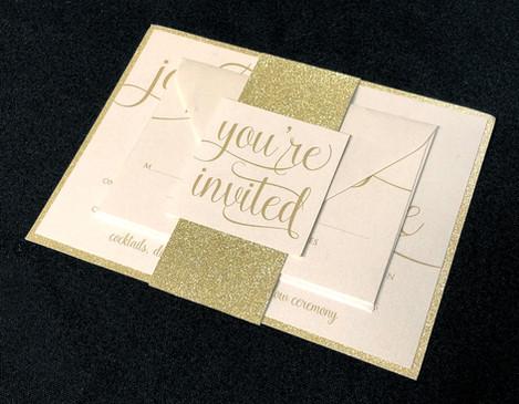 You're Invited Gold Glitter Invitation