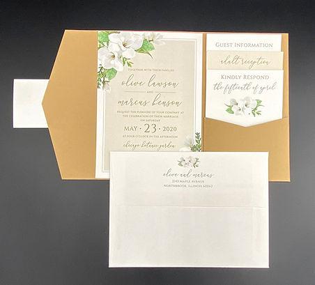 White Floral Pocket Wedding Invitation