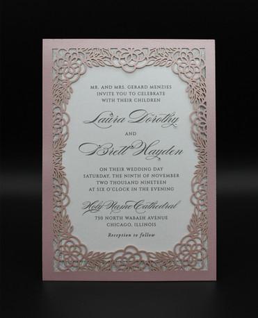 Pink Die Cut Frame Invitation