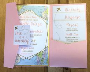 Travel Pink Pocket Invitation