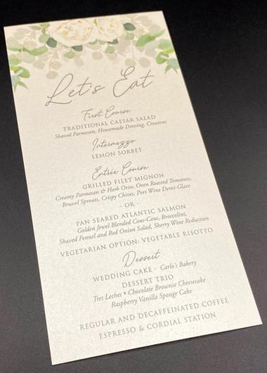 Lets Eat Wedding Reception Menu