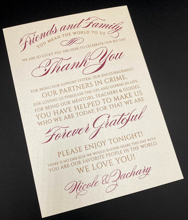 Thank You Card for Reception