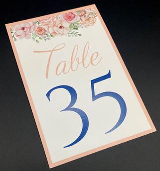 Standard Floral Table Number