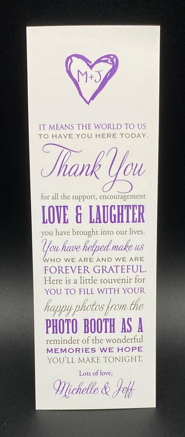 Thank You Card Favor
