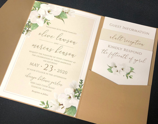 White & Natural Floral Pocket Invitation