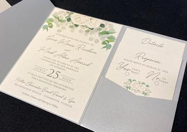 White Rose & Eucalyptus Pocket Invitation