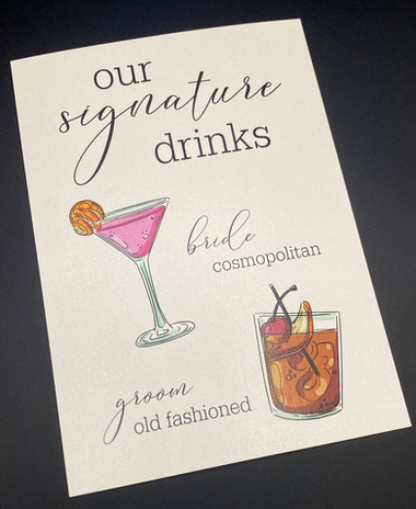 Simple Signature Drink Sign